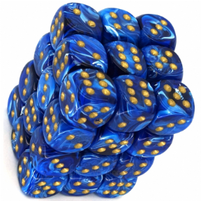 Blue & Gold Vortex 12mm D6 Dice Block